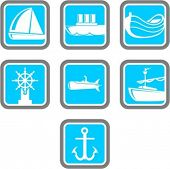 A set of 7 vector icons of transportation objects.