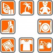 A set of 8 vector icons of commerce objects.