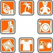 Um conjunto de 8 ícones do vetor de objetos de comércio.