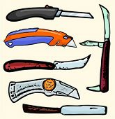 A set of 6 vector illustrations of box cutters and knives. Check my portfolio for many more images.