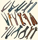 A set of 17 vector illustrations of rusty tools.