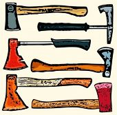 A set of 6 vector illustrations of axes. Check my portfolio for many more images of this series.