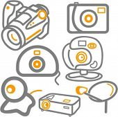 A set of 7 vector icons of web, photo and video cameras, and a satellite dish.