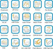 A set of 20 vector hardware and peripherals pictograms.