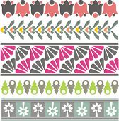 A set of 5 vector floral ornamental borders.