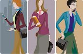 A set of 3 businesswomen vector illustrations. 1) A businesswoman, speaking on a mobile phone. 2) A student girl holding books and a suitcase. 3) A businesswoman speaking on a mobile phone.