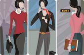 A set of 3 businesswomen vector illustrations. 1)A businesswoman speaking on a mobile phone in the subway station 2)A businesswoman speaking on a mobile phone 3)A secretary entering the boss room