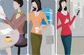 A set of 3 businesswomen vector illustrations. 1) A businesswoman reading a newspaper 2) A businesswoman speaking on a mobile phone and drinking water 3) A businesswoman speaking on a mobile phone