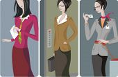 A set of 3 businesswomen vector illustrations. 1) A businesswoman holding a letter. 2) A businesswoman with a suitcase, waiting for the elevator. 3) A businesswoman calling a business contact.