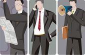 Een set van 3 zakenlieden vectorillustraties. 1) Een zakenman lezen van een krant. 2) Een zakenman