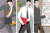 A set of 3 businessmen vector illustrations. 1) A businessman in a hurry for a business meeting 2) A