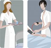 A set of 2 medical illustrations. 1) Medic preparing a medicine. 2) Blood pressure measuring.
