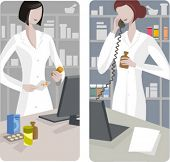 A set of 2 pharmacy illustrations.