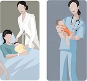 A set of 2 medical illustrations. 1) Mother and baby. 2) Midwive holding a baby.