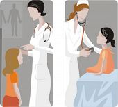 A set of 2 medical illustrations. 1) Height measuring. 2) Pediatric with a young patient.