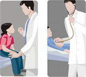 A set of 2 medical illustrations. 1) Pediatric examines the temperature of a child. 2) Pediatric checking boy.