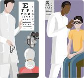 A set of 2 medical illustrations. Eye examination.