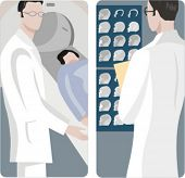A set of 2 medical illustrations. 1) Doctor preparing to scan a patient. 2) Doctor looking a X-ray.