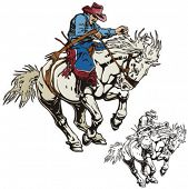 foto of bareback  - Illustration of a rodeo cowboy riding a saddled horse - JPG
