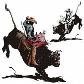 stock photo of bull-riding  - Illustration of a rodeo cowboy riding a bull - JPG