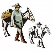 Illustration of a latino cowboy with a donkey.