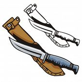 Illustration of a knife and sheath.