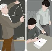Teacher illustrations series.  1) Math teacher writing on a blackboard in a classroom. 2) General cl