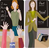 Teacher illustrations series.  1) Elementary class teacher examining a students. 2) English teacher teaching a grammar in a classroom.