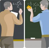 Teacher illustrations series.  1) Math teacher solving a mathematical problem on a blackboard. 2) Ma