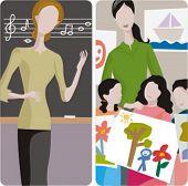 Teacher illustrations series. 1) Music teacher teaching a lesson in a classroom. 2) Art teacher and her class in a classroom.