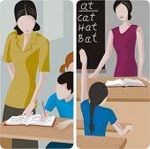 Teacher illustrations series. 1) Elementary teacher looking at a students work. 2) Elementary teacher teaching english in a classroom.