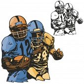 American football players. Vector illustration