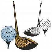 Vara de golfe e uma bola. Ilustração vetorial