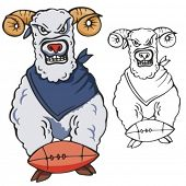Ram Football Mascot for sport teams. Great for t-shirt designs, school mascot logo and any other design work. Ready for vinyl cutting.