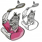 Zebra Badminton Mascot. Great for t-shirt designs, school mascot logo and any other design work. Ready for vinyl cutting.