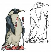 Penguin Ski Mascot. Great for t-shirt designs, school mascot logo and any other design work. Ready f