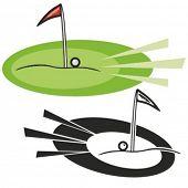 Buraco de golfe com bandeira vermelha e uma bola. Ilustração vetorial