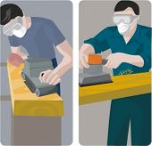 A set of 2 vector illustrations of carpenters. 1) Carpenter using a band grinder. 2) Carpenter using a vibration grinder.