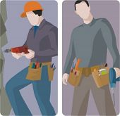 A set of 2 vector illustrations of workers using drills.