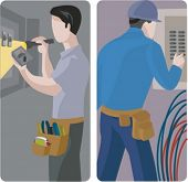 A set of 2 vector illustrations of electricians. 1) Electrician using a multimeter and a flashlight.