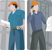 A set of 2 vector illustrations of architects. 1) Architect holding a blueprint. 2) Architect reading a blueprint and speaking on a mobile phone.