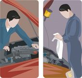 A set of 2 auto mechanics checking the engine of cars.