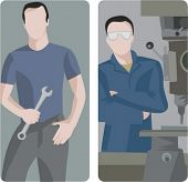 A set of 2 vector illustrations of workers. 1) Worker holding a wrench. 2) Worker using a drill press.