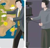 A set of 2 vector worker illustrations. 1) A weather forecast. 2) Television camera operator.