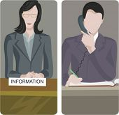 A set of 2 vector illustrations of receptionists.