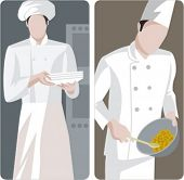 A set of 2 vector illustrations of chefs.