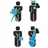 Um conjunto de 4 série de ícones de profissão. Confira meu portfólio para muito mais desta série.