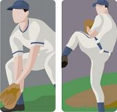 Sport illustrations series. A set of 2 baseball pitchers.