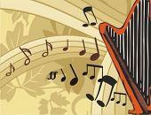 stock photo of lyre-flower  - Musical Background - JPG