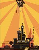Sonnenschein Stadtansicht-Kontur-Hintergrund-Serie. Prüfen Sie mein Portfolio für viel mehr von dieser Serie als